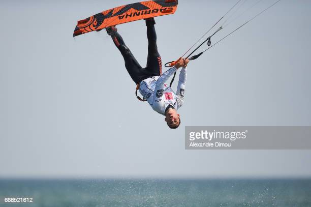 Oswald Smith of South Africa competes in the WKL Kiteboarding World Cup 2017 freestyle qualifiers on April 14 2017 in Leucate France