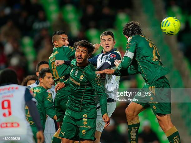 Oswaldo Alanis and Carlos Izquierdoz of Santos in action during a match between Santos Laguna and Monterrey as part of 3rd round Clausura 2015 Liga...
