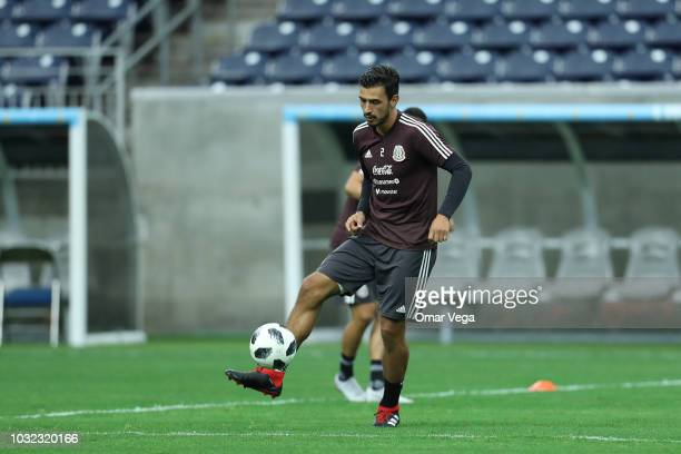 Oswaldo Alanis controls the ball during a training session ahead Mexico's international friendly match against Uruguay at NRG Stadium on September 6...