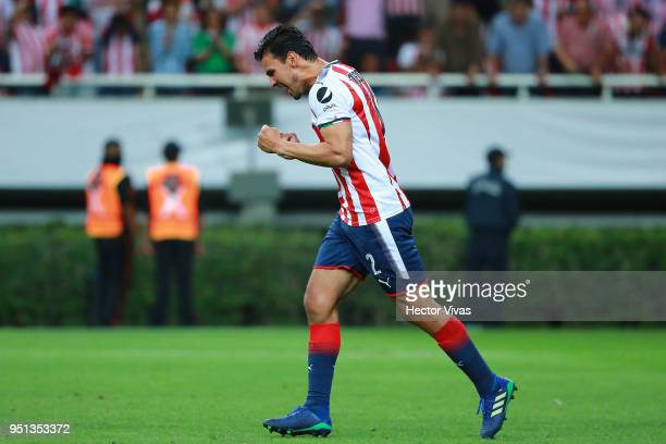 Oswaldo Alanis of Chivas celebrates after scoring a penalty shot during the second leg match of the final between Chivas and Toronto FC as part of...