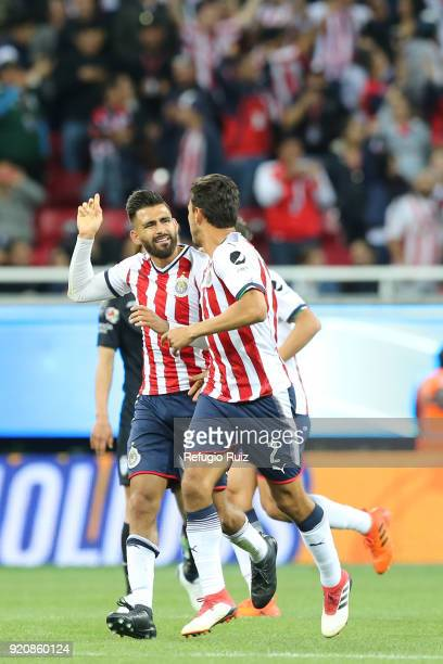 Oswaldo Alanis of Chivas celebrates after scoring the first goal of his team during the 8th round match between Chivas and Pachuca as part of the...