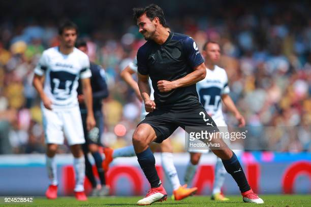 Oswaldo Alanis of Chivas celebrates after scoring the first goal of his team during the 9th round match between Pumas UNAM and Chivas as part of the...