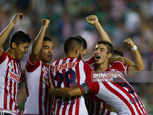 Oswaldo Alanis of Chivas celebrates with his teammates after scoring the opening goal during the Final match between Leon and Chivas as part of the...