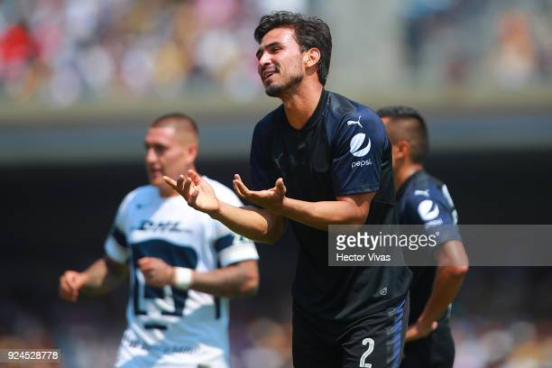 Oswaldo Alanis of Chivas reacts during the 9th round match between Pumas UNAM and Chivas as part of the Torneo Clausura 2018 Liga MX at Olimpico...