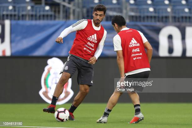 Oswaldo Alanis of Mexico controls the ball during the traning session prior to the international friendly game between Mexico and United States at...