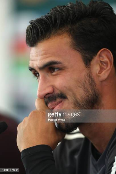 Oswaldo Alanis of Mexico gestures during the Mexico National Team press conference at CAR on May 17 2018 in Mexico City Mexico