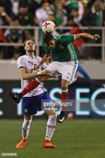 Oswaldo Alanis of Mexico heads the ball during an International Friendly match between Mexico and Iceland at Sam Boyd Stadium on February 08 2017 in...