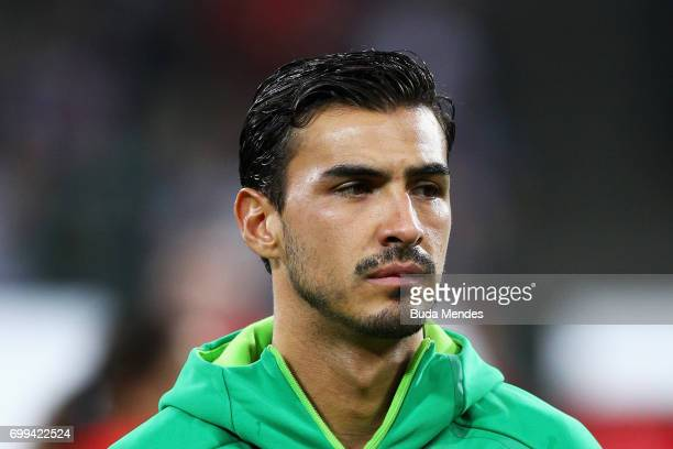 Oswaldo Alanis of Mexico lines up prior to the FIFA Confederations Cup Russia 2017 Group A match between Mexico and New Zealand at Fisht Olympic...