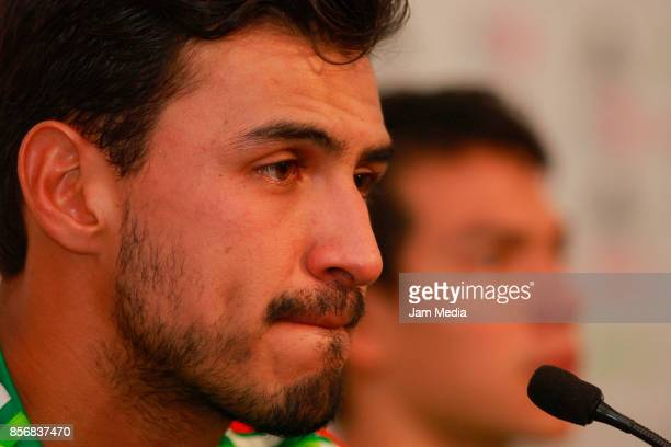 Oswaldo Alanis of Mexico looks on during a press conference after a training session at CAR on October 02 2017 in Mexico City Mexico