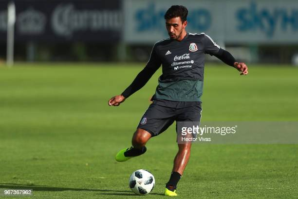 Oswaldo Alanis of Mexico passes the ball during a training session ahead of FIFA Russia 2018 World Cup at Centro de Alto Rendimiento on June 1 2018...