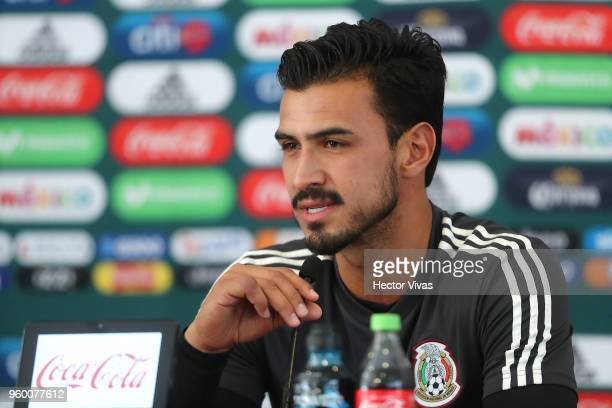 Oswaldo Alanis of Mexico speaks during the Mexico National Team press conference at CAR on May 17 2018 in Mexico City Mexico