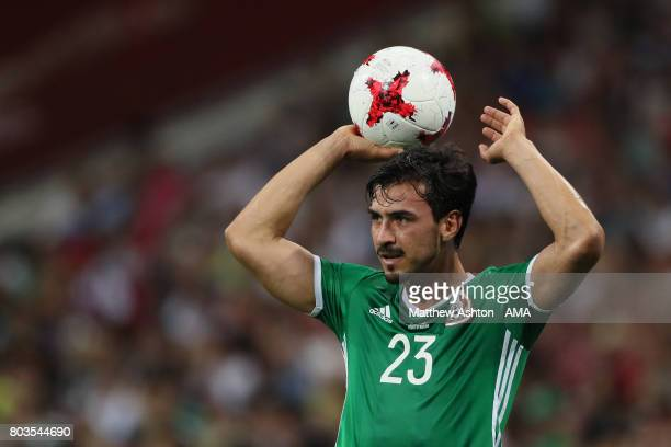Oswaldo Alanis of Mexico takes a throw in during the FIFA Confederations Cup Russia 2017 SemiFinal match between Germany and Mexico at Fisht Olympic...