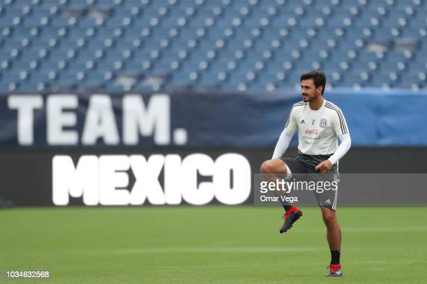 Oswaldo Alanis of Mexico warms up during the traning session prior to the international friendly game between Mexico and United States at Nissan...