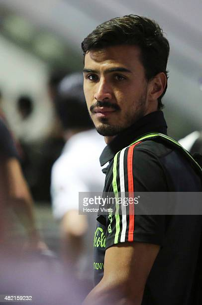 Oswaldo Alanis of Mexico's national team arrives at Internacional Benito Juarez Airport after winning the 2015 CONCACAF Gold Cup on July 27 2015 in...