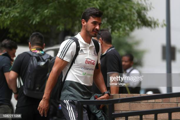 Oswaldo Alanis walks towards the hotel during the arrival of Mexico National Team at Four Seasons Hotel on September 6 2018 in Houston Texas Mexico...