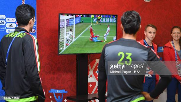 Oswaldo Alanis watchs the match between Russia and New Zealand during the Mexico Training and Press Conference on June 17 2017 in Kazan Russia