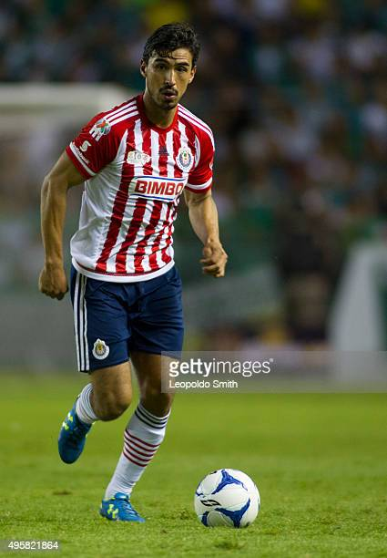 Oswaldo Alanís of Chivas drives the ball during the Final match between Leon and Chivas as part of the Copa MX Apertura 2015 at Leon Stadium on...