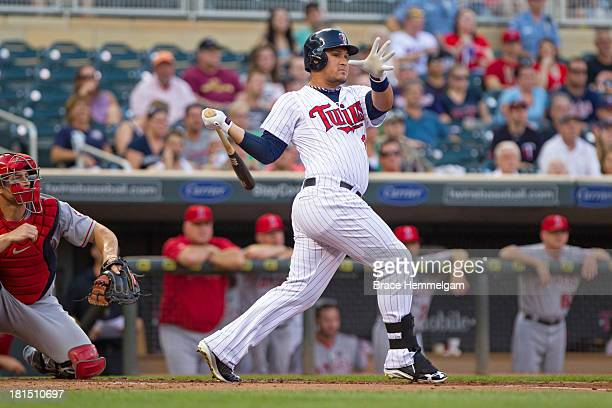 Oswaldo Arcia of the Minnesota Twins bats against the Los Angeles Angels of Anaheim on August 9 2013 at Target Field in Minneapolis Minnesota The...