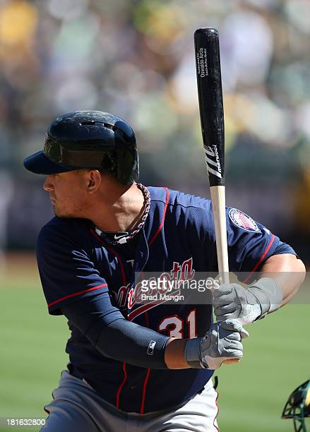 Oswaldo Arcia of the Minnesota Twins bats against the Oakland Athletics during the game at Oco Coliseum on Sunday September 22 2013 in Oakland...