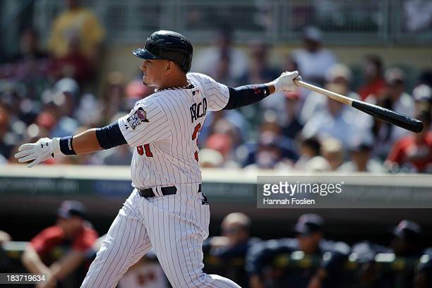 Oswaldo Arcia of the Minnesota Twins bats against the Oakland Athletics during the game on September 12 2013 at Target Field in Minneapolis Minnesota