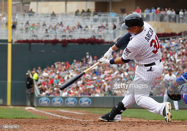 Oswaldo Arcia of the Minnesota Twins bats against the Toronto Blue Jays during their baseball game won by the Blue Jays 20 on September 8 2013 at...