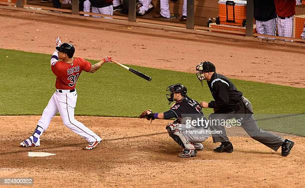Oswaldo Arcia of the Minnesota Twins hits a walkoff home run against the Cleveland Indians during the ninth inning of the game on April 25 2016 at...