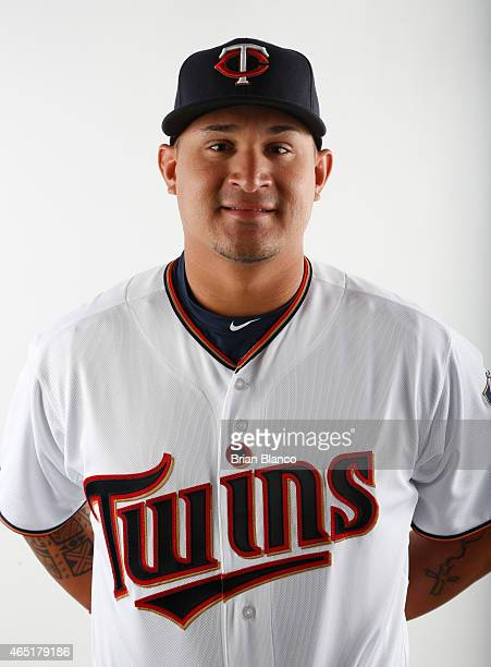 Oswaldo Arcia of the Minnesota Twins poses for a photo during the Twins' photo day on March 3 2015 at Hammond Stadium in Fort Myers Florida
