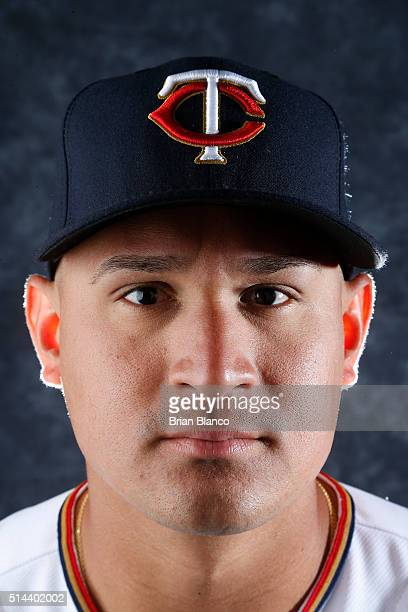Oswaldo Arcia of the Minnesota Twins poses for a photo during the Twins' photo day on March 1 2016 at Hammond Stadium in Ft Myers Florida