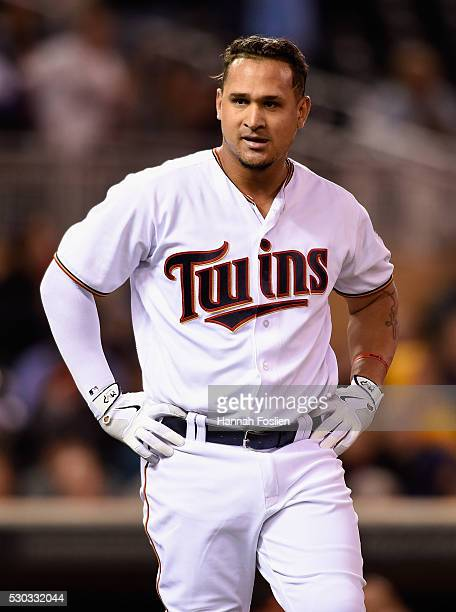 Oswaldo Arcia of the Minnesota Twins reacts to striking out against the Baltimore Orioles during the sixth inning of the game on May 10 2016 at...