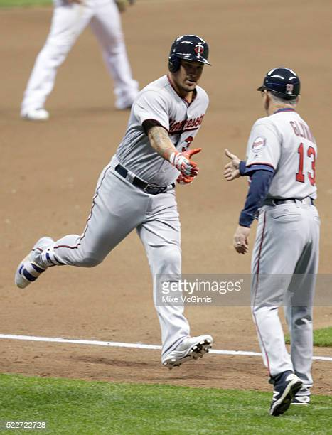 Oswaldo Arcia of the Minnesota Twins runs the bases after hitting a two run homer in the sixth inning against the Milwaukee Brewers at Miller Park on...