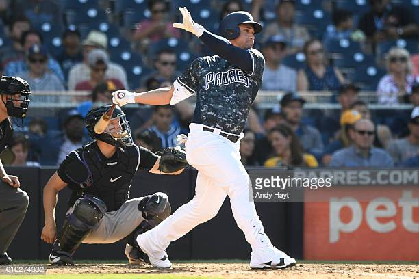 Oswaldo Arcia of the San Diego Padres hits during the game against the Colorado Rockies at PETCO Park on September 11 2016 in San Diego California