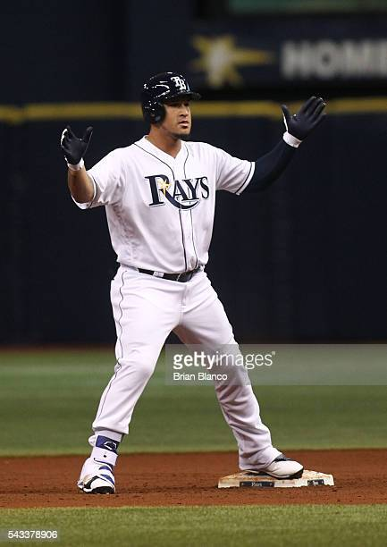 Oswaldo Arcia of the Tampa Bay Rays celebrates at second made after hitting a double off of pitcher Eduardo Rodriguez of the Boston Red Sox during...
