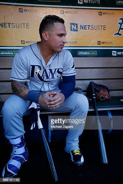 Oswaldo Arcia of the Tampa Bay Rays sits in the dugout prior to the game against the Oakland Athletics at the Oakland Coliseum on July 23 2016 in...