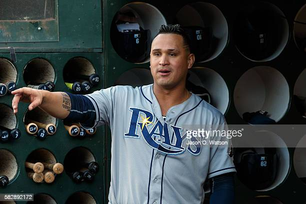 Oswaldo Arcia of the Tampa Bay Rays stands in the dugout before the game at the Oakland Coliseum on July 21 2016 in Oakland California The Tampa Bay...