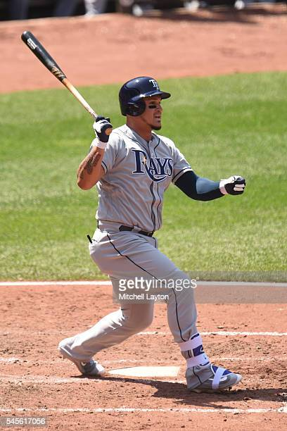 Oswaldo Arcia of the Tampa Bay Rays takes a swing during a baseball game against the Baltimore Orioles at Oriole Park at Camden Yards on June 26 2016...