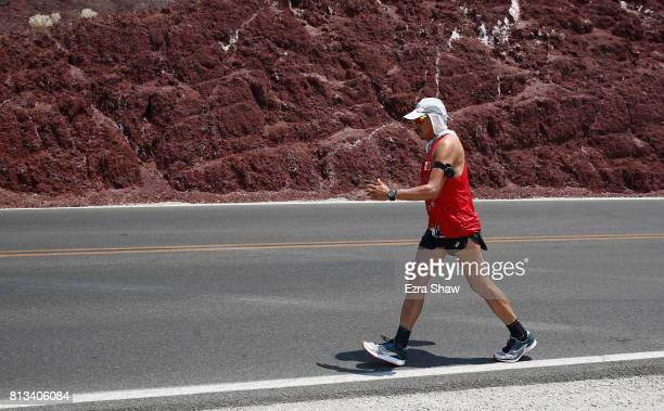 Oswaldo Lopez competes in the STYR Labs Badwater 135 on July 11 2017 in Death Valley California Lopez who is a past champion was unable to finish the...