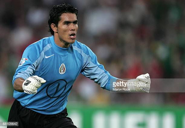 Oswaldo Sanchez goalkeeper of Mexico seen in action during the match between Mexico and Brazil in the FIFA Confederations Cup 2005 in the AWD Arena...