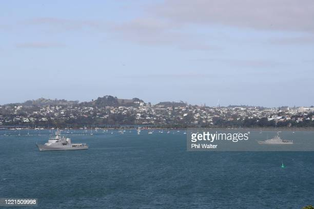 HMNZS Otago and HMNZS Hawea depart the Devonport Naval base and sail out from Auckland Harbour as the move to Alert Level 3 allows them to resume...