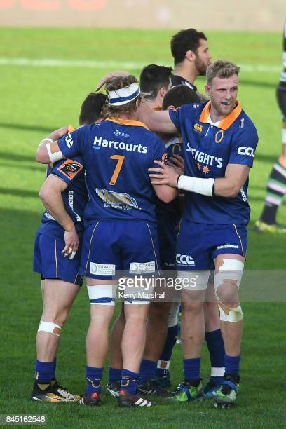Otago celebrate a try during the round four Mitre 10 Cup match between Hawke's Bay and Otago at McLean Park on September 10 2017 in Napier New Zealand