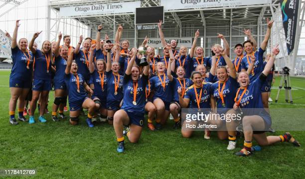 Otago celebrate winning the Farah Palmer Cup Championship Final between Otago and Hawke's Bay at Forsyth Barr Stadium on October 27, 2019 in Dunedin,...