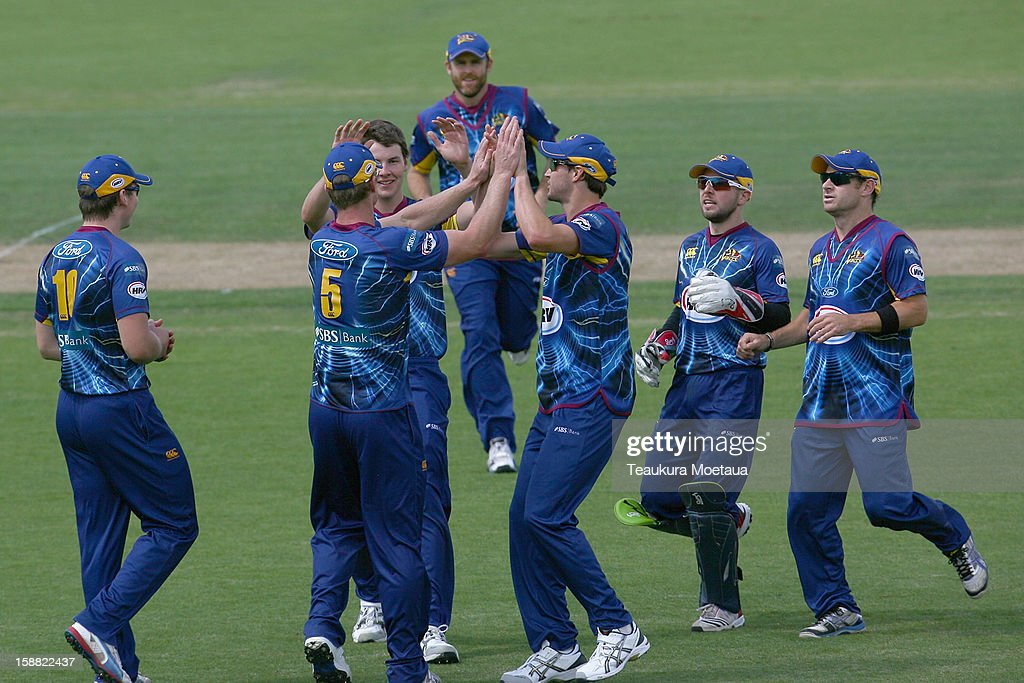 Otago celebrates a wicket during the Twenty20 match between Otago and Auckland at Queenstown Events Centre on December 31, 2012 in Queenstown, New Zealand.