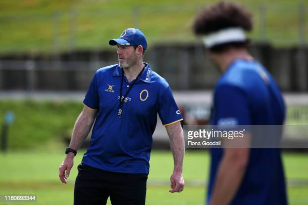 Otago head coach Ben Herring at warm up during the round 10 Mitre 10 Cup match between Northland and Otago at Semenoff Stadium on October 13 2019 in...