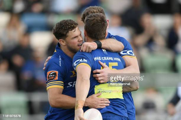 Otago players celebrate a try during the Mitre 10 Cup Championship Semi Finals match between Hawkes Bay and Otago at McLean Park on October 19 2019...