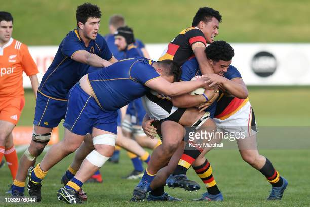 Otago players drive forwards during the Jock Hobbs U19 Rugby Tournament on September 15 2018 in Taupo New Zealand