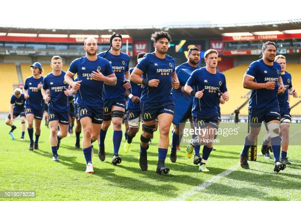 Otago players leave the field after warming up during the round one Mitre 10 Cup match between Wellington and Otago at Westpac Stadium on August 19...