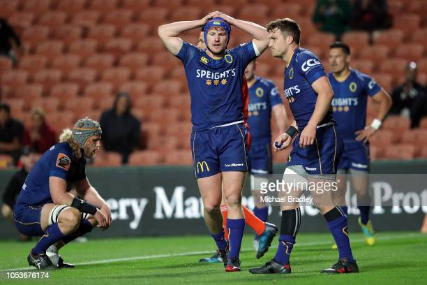 Otago's James Lentjes looks dejected during the Mitre 10 Cup Championship Final match between Waikato and Otago at FMG Stadium on October 26 2018 in...
