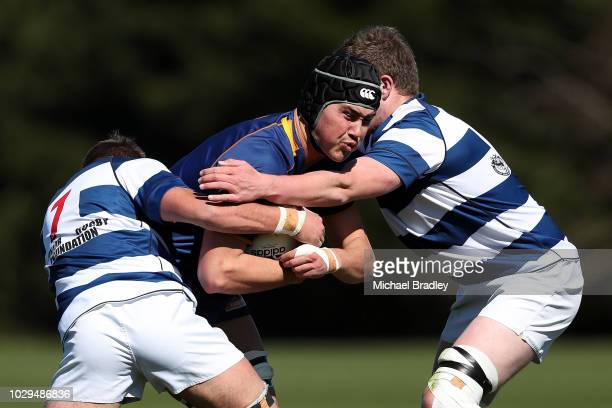 Otago's Josh Hill is tackled during the match between Otago and Auckland Development during the Jock Hobbs Memorial National U19 Tournament on...