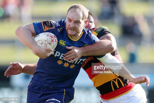 Otago's Matt Faddes is tackled during the round nine Mitre 10 Cup match between Waikato and Otago at FMG Stadium on October 13 2018 in Hamilton New...