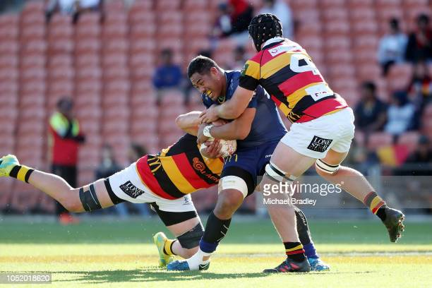 Otago's Sione Misiloi is tackled during the round nine Mitre 10 Cup match between Waikato and Otago at FMG Stadium on October 13 2018 in Hamilton New...