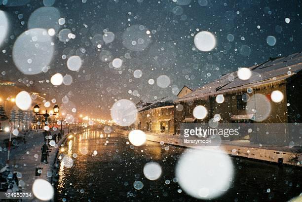 Otaru Canal with Snow Falling, Hokkaido, Japan